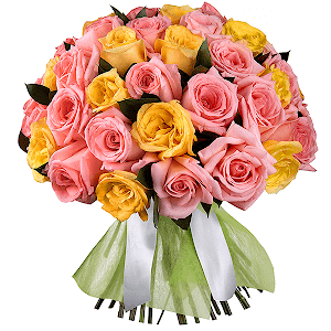 Букет из 65 розовых и желтых роз