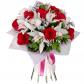 Орхидея цимбидиум - 9, Роза красная 50см - 9, Рускус, Статица, Фетр, Лента, Колба-пробирка